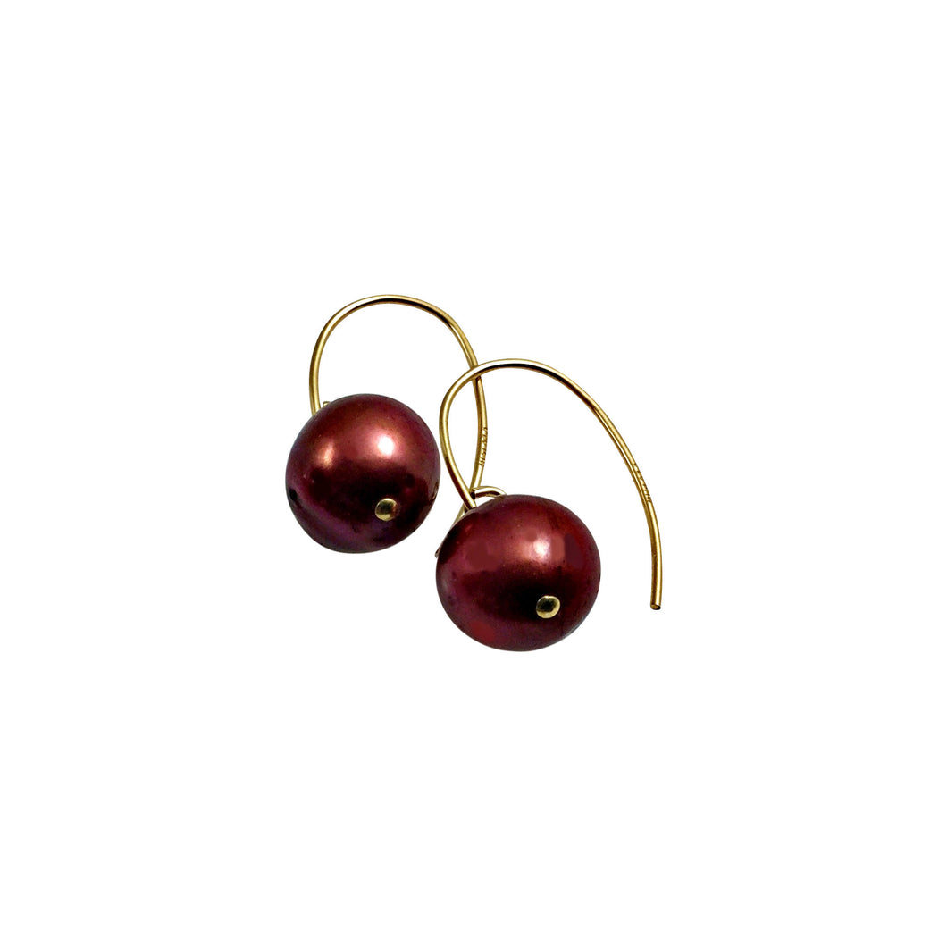 BERRY RED PEARL SIMPLE EARRINGS