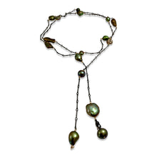 GREEN PEARL SIMPLE LONG LARIAT NECKLACE