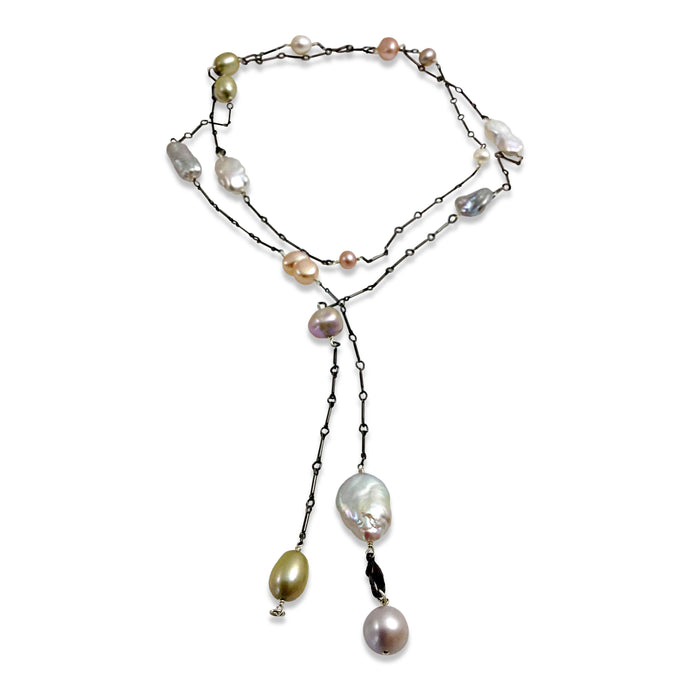 PASTEL PEARL SIMPLE LONG LARIAT NECKLACE