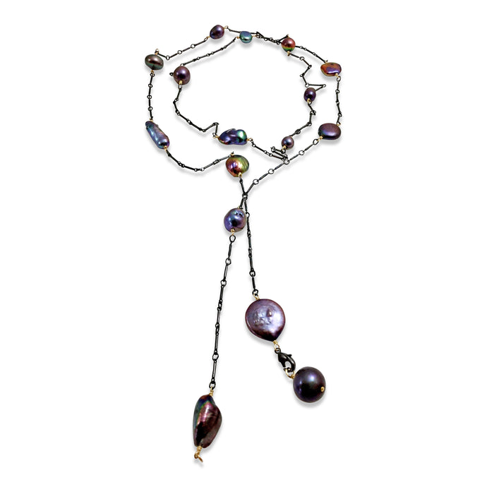 PEACOCK PEARL SIMPLE LONG LARIAT NECKLACE