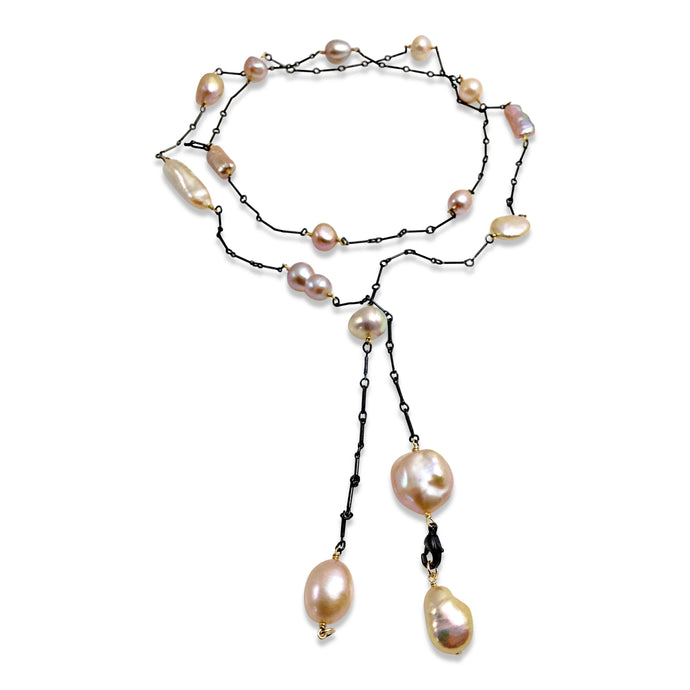 BLUSH PINK PEARL SIMPLE LARIAT NECKLACE