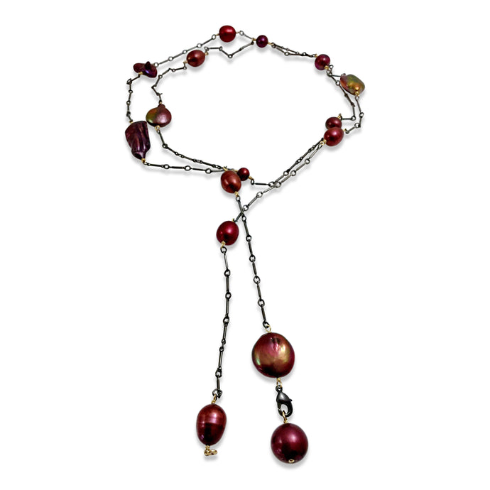 BERRY RED PEARL SIMPLE LONG LARIAT NECKLACE