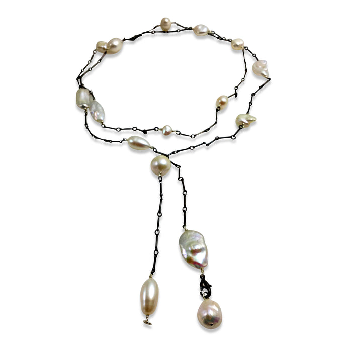 IVORY PEARL SIMPLE LONG LARIAT NECKLACE