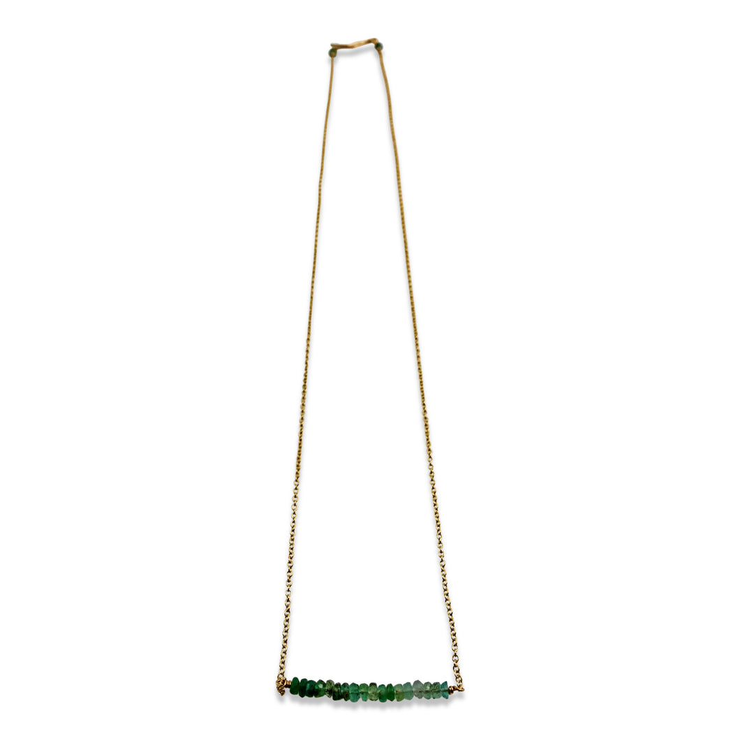 PRECIOUS BAR NECKLACE - EMERALD
