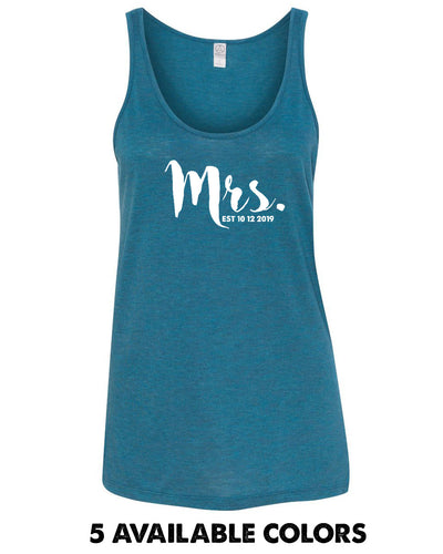 Mrs. With Custom Wedding Date - Mélange Burnout Jersey Airy Tank - 2833