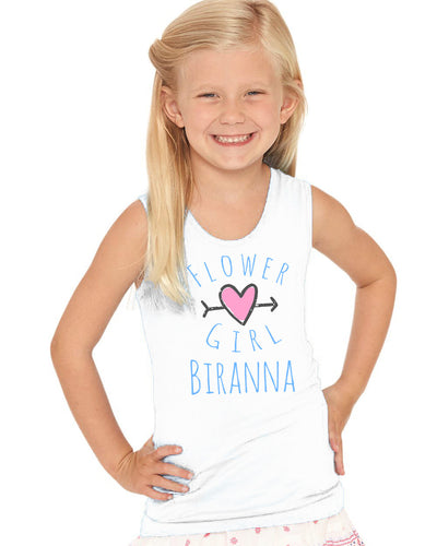 Flower Girl With Heart Custom Name- Cotton Jersey Tank - 2690
