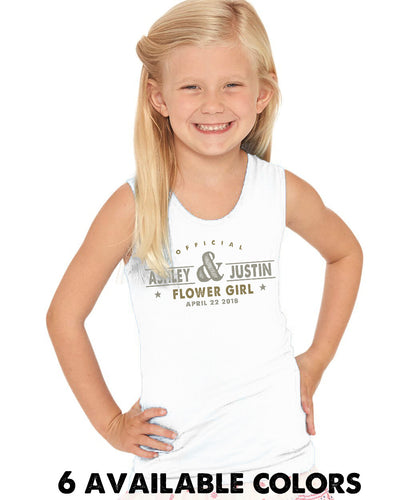 Old Stamp Flower Girl Custom Names- Cotton Jersey Tank - 2690