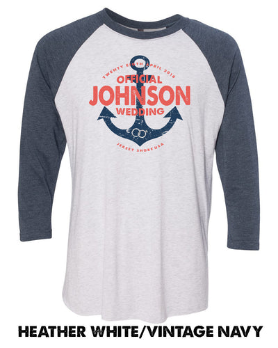 Vintage Anchor - Custom Names - Unisex Raglan Baseball T - 6051