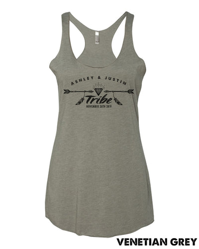 Luxe - Diamond Tribe With Custom Names - Triblend Racerback Tank - 6733