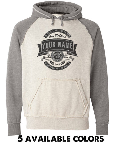 Vintage Varsity Hoodie - Distressed Vintage Emblem With Custom Names - 8885