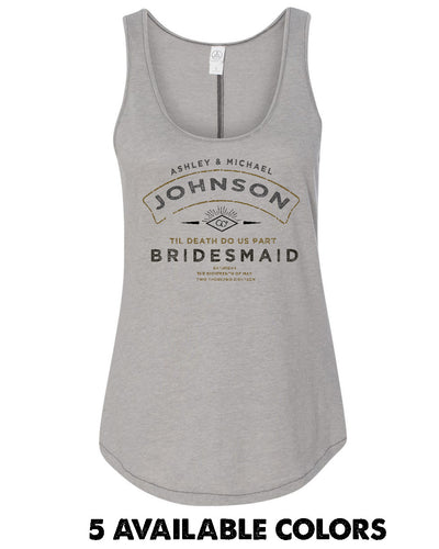 Old Stamp Print - BrIdesmaid - With Custom names - 50/50 Full Back Tank - 5054