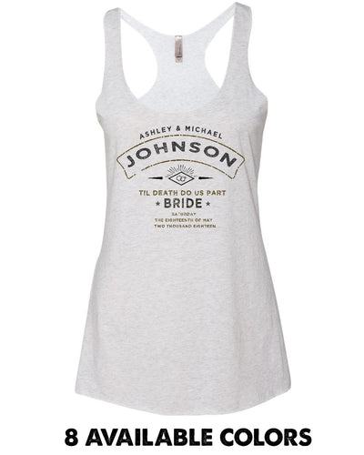 BRIDE - Old Stamp Custom Names Luxe Triblend Racerback Tank - 6733