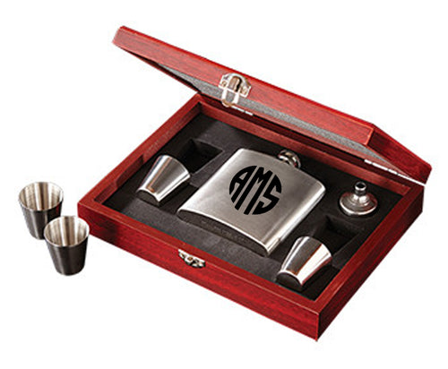 Monogrammed Stainless Steel Flask Box Set
