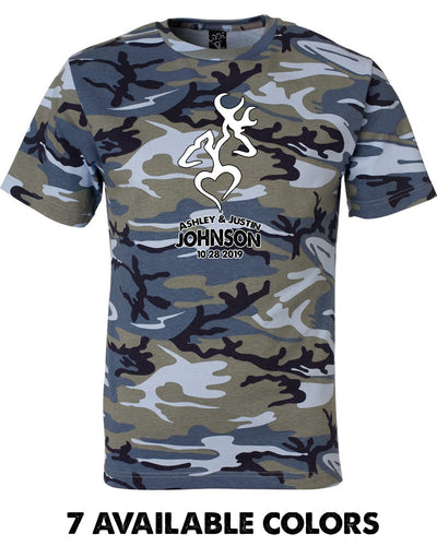 2 DEER & HEART - Custom Names - Unisex Adult Camo Tee - 3906