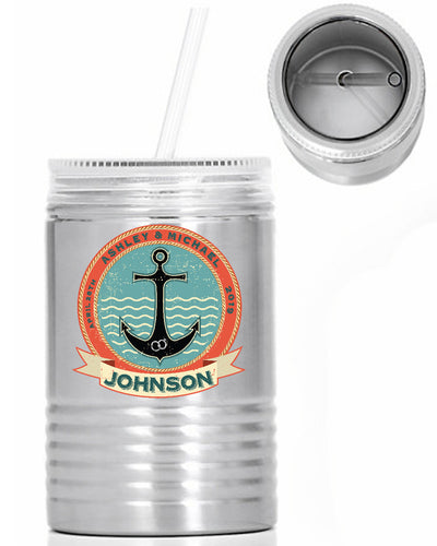Vintage Anchor - Custom Name Oil Can - 24 oz. Stainless Steel Mason Jar With Lid