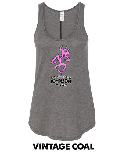 Deer & Heart - Custom Names - 50/50 Full Back Tank - 5054