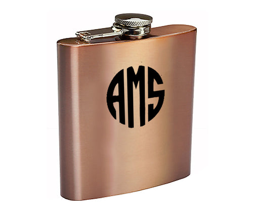 Monogrammed -  6 Ounce Copper Plated Stainless Steel  Hip Flask