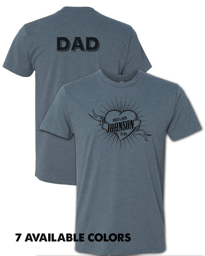 DAD - Wild Heart with Custom Names - Unisex Poly/Cotton Short Sleeve T