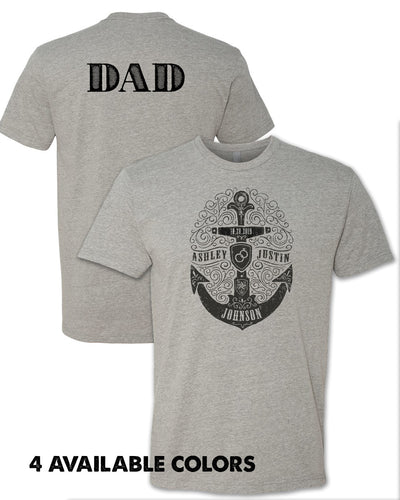 DAD - Stamped Anchor with Custom Names - Unisex POLY/COTTON T