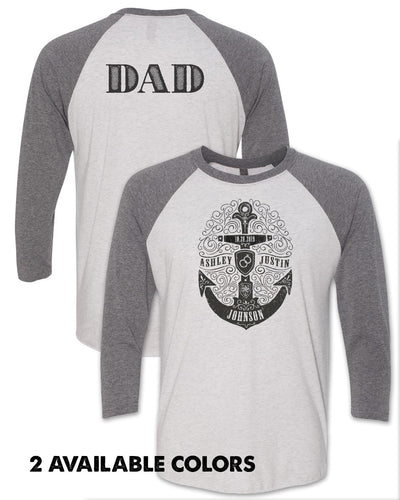 DAD - Stamped Anchor with Custom Names - Unisex Triblend Baseball T