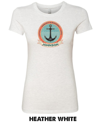 Anchor & Rings With Custom Names -Women's Cotton Favorite T -  3300