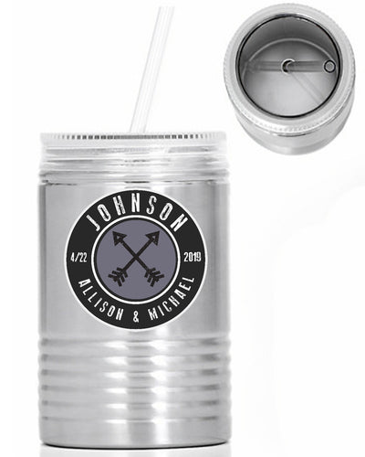 ARROWS & NAMES - Custom Name Oil Can - 24 oz. Stainless Steel Mason Jar With Lid