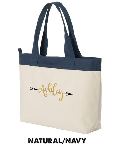 Bridesmaid Large Canvas Zippered Tote with Custom Name - HYB4