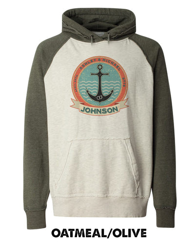 Vintage Varsity Hoodie - Anchor With Custom Names - 8885
