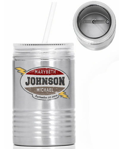 Old Timey Custom Name Oil Can - 24 oz. Stainless Steel Mason Jar With Lid