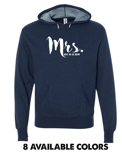 Super Light -Mrs. - French Terry Custom Date Pullover Hoodie - PRM90HT