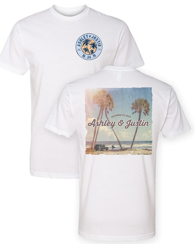 Tropical Vintage Postcard - Poly/Cotton Custom Name Short Sleeve T