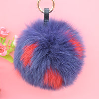 Red and Blue Polka Dot Bag Pom Charm | 6.3