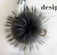 Dark Gray Big Pom Pom Keychain