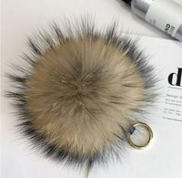 Beige and Black Tips Big Pom Pom Keychain