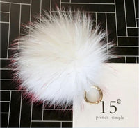 White with Pink Tips Big Pom Pom Keychain