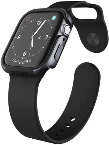 X-Doria Defense Edge, 44mm Apple Watch Case - Premium Aluminum & TPU Bumper Frame, Compatible with Apple Watch Series 4 and Series 5 Only (Charcoal)