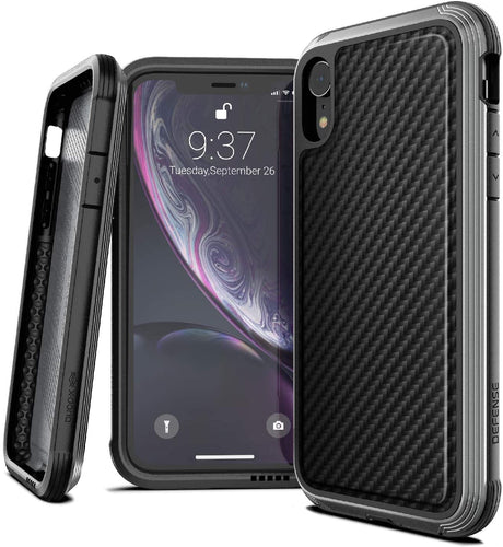 X-Doria Defense Lux, iPhone XR Case - Military Grade (Black Carbon Fiber)
