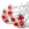 Image of 20Pcs/ Lot Women Wedding Bridal Clear Crystal Rhinestone Rose Flower Hair Clips Hair Accessories Jewelry Barrettes Hairpins