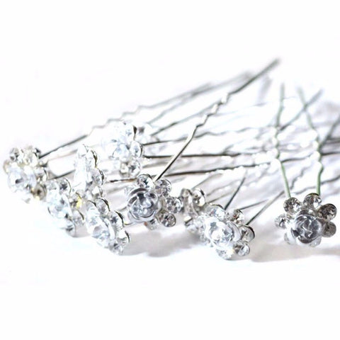 20Pcs/ Lot Women Wedding Bridal Clear Crystal Rhinestone Rose Flower Hair Clips Hair Accessories Jewelry Barrettes Hairpins
