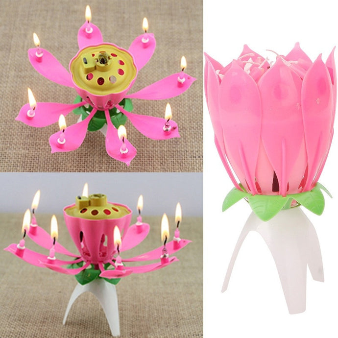 Romantic Musical Lotus Flower Happy Birthday Party Gift Music Candle Lights