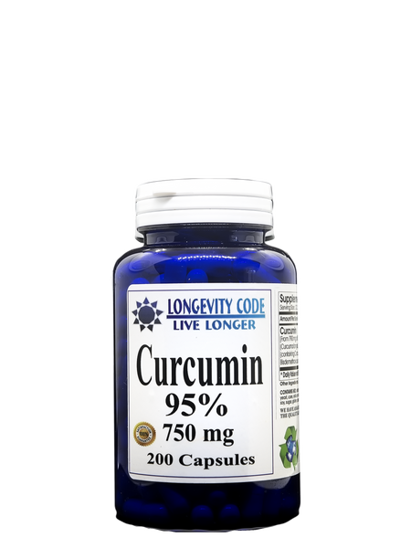 CURCUMIN 95% - 750 mg, 200 caps. Anti-Inflammatory - Longevity Code - Live Longer