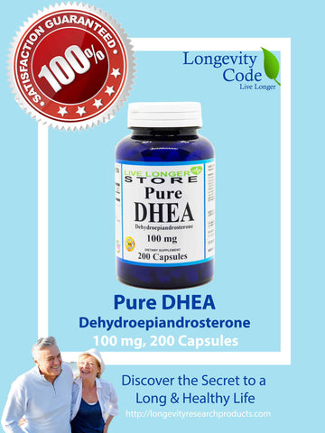 PURE DHEA - 100 mg, 200 caps - Longevity Code - Live Longer