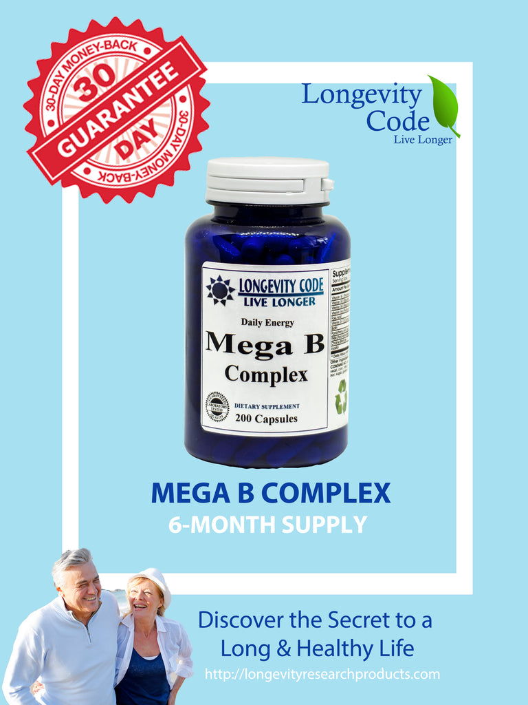 MEGA B COMPLEX - 150 mg of B1, B 2 & B3, 200 caps. - Longevity Code - Live Longer