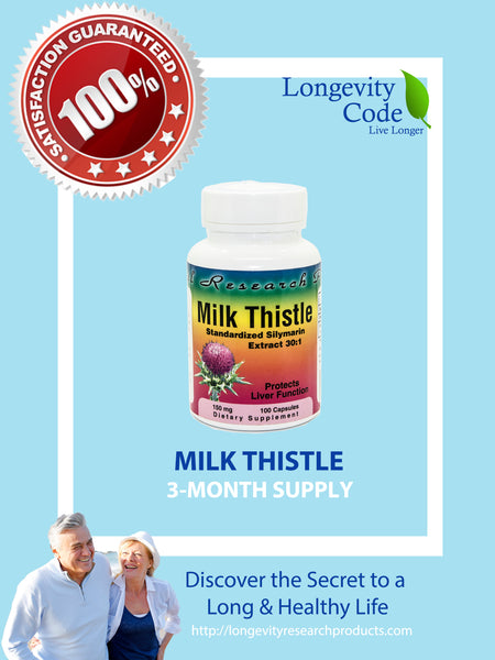 MILK THISTLE  - 30:1 Concentration  150mg, 100 caps - Longevity Code - Live Longer