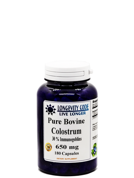 PURE BOVINE COLOSTRUM - 30% Immunogoblins 650mg, 180 caps - Longevity Code - Live Longer