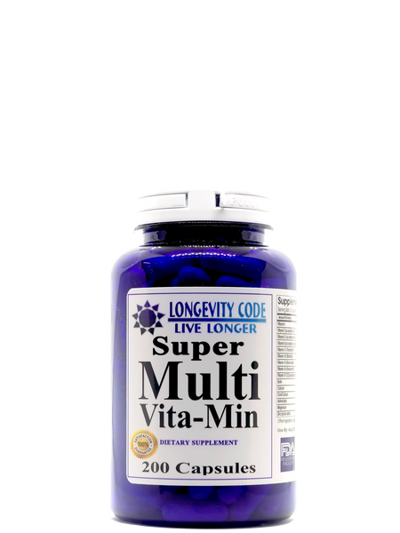 SUPER MULTI VITA-MIN - 200 capsules - Longevity Code - Live Longer
