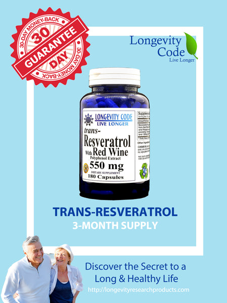 TRANS RESVERATROL & RED WINE EXTRACT - 550 mg, 180 caps. - Longevity Code - Live Longer