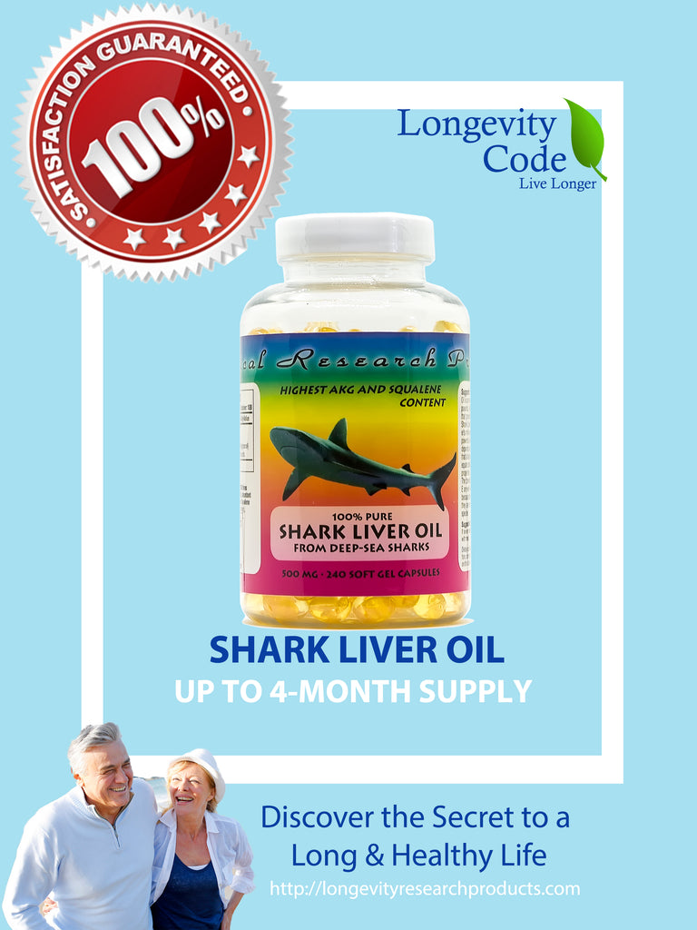 SHARK LIVER OIL COMPLEX- 500mg, 240 soft gel capsules - Longevity Code - Live Longer