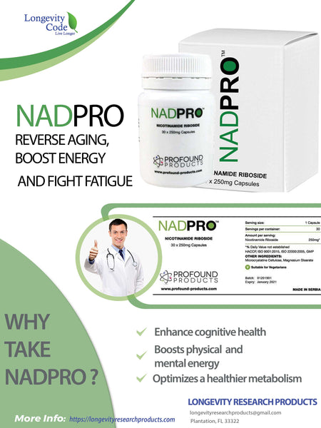 NADPRO™ (NICOTINAMIDE RIBOSIDE) - 250mg, 30 caps. - Longevity Code - Live Longer