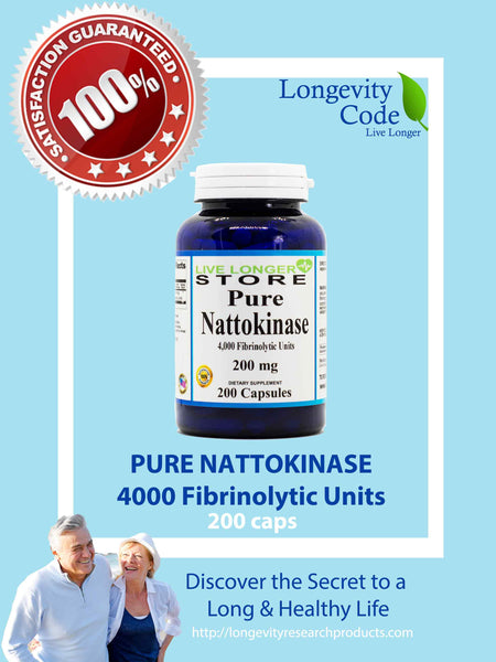 PURE NATTOKINASE - 4000 Fibrinolytic Units, 200 caps - Longevity Code - Live Longer